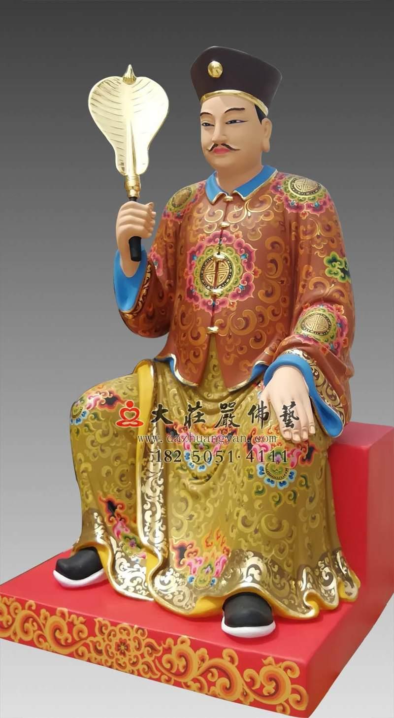 铜雕员外侧面彩绘描金塑像