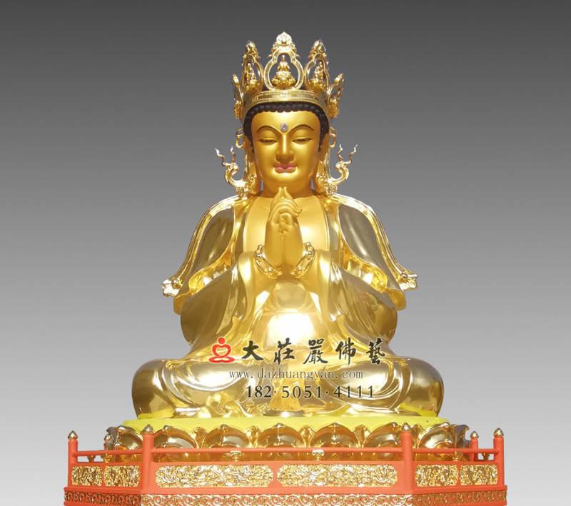 铜雕五方佛之贴金毗卢遮那佛正面近照