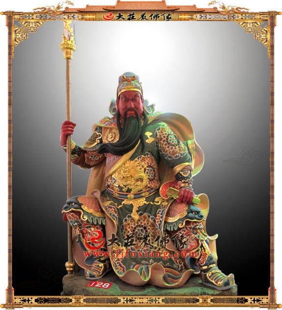 铜雕关公彩绘伽蓝菩萨