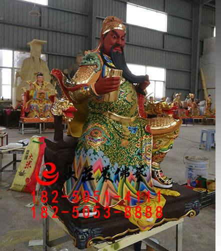 128铜雕彩绘关公