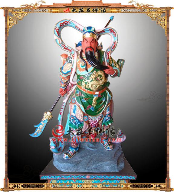 铜雕彩绘关公武财神持刀塑像