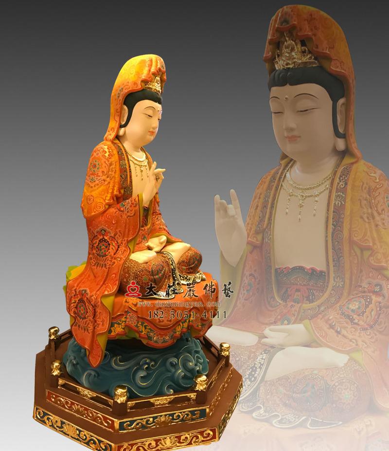 铜雕观世音菩萨侧面侧面塑像