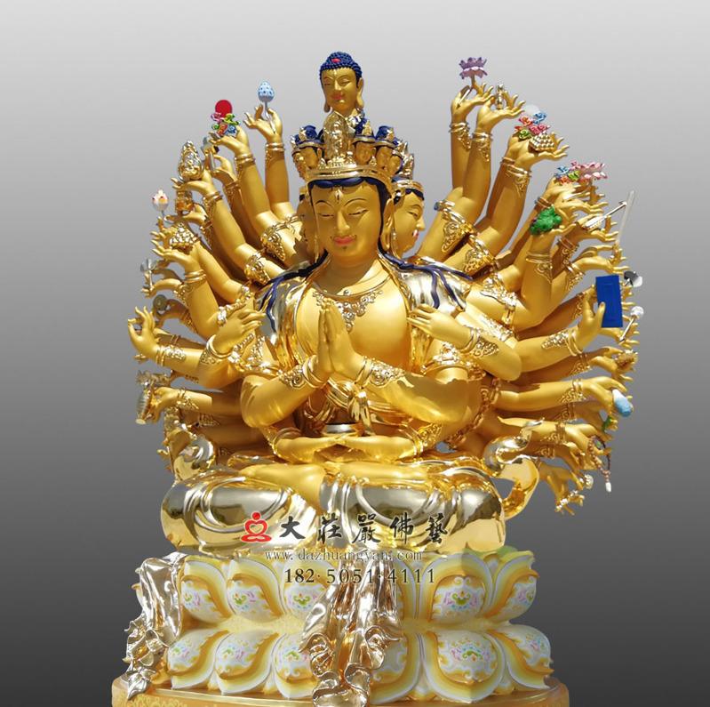 铜雕千手观音贴金侧面佛像