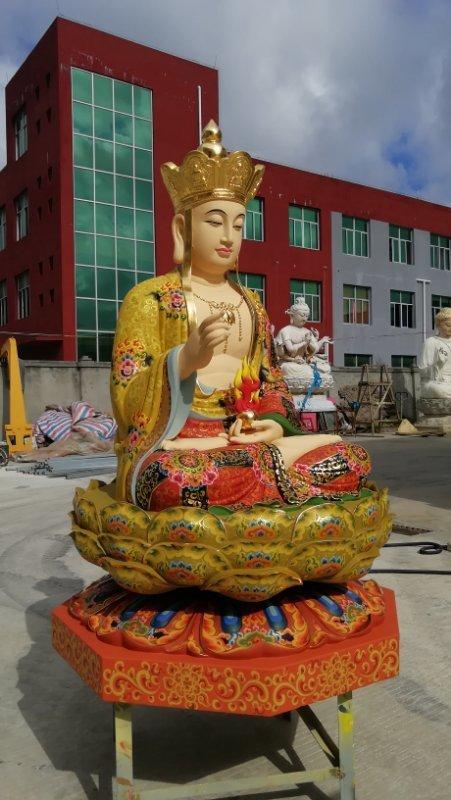铜像彩绘描金地藏王菩萨整体侧面照