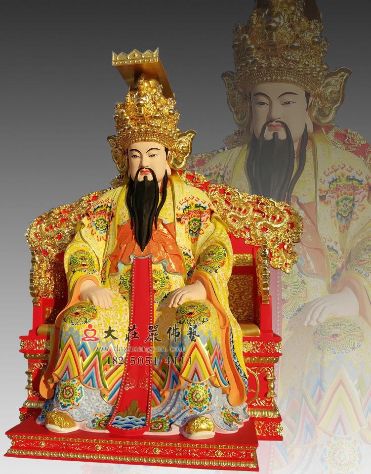 铜像彩绘描金玉皇大帝侧面塑像