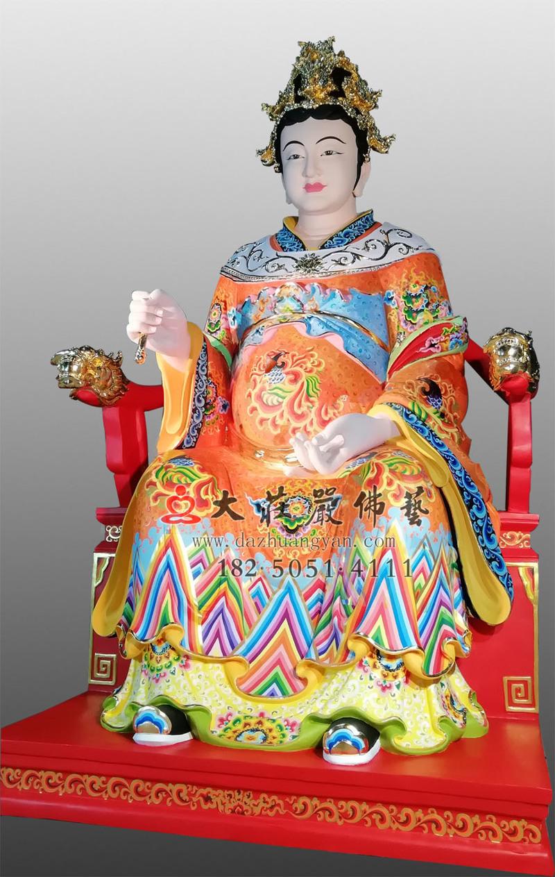 铜像江夫人彩绘侧面塑像