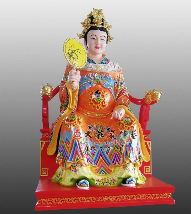 铜像彩绘描金江夫人侧面塑像