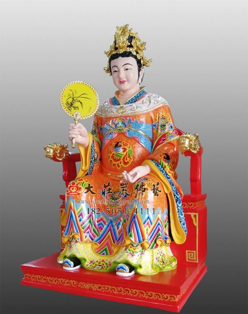 铜像彩绘江夫人侧面塑像