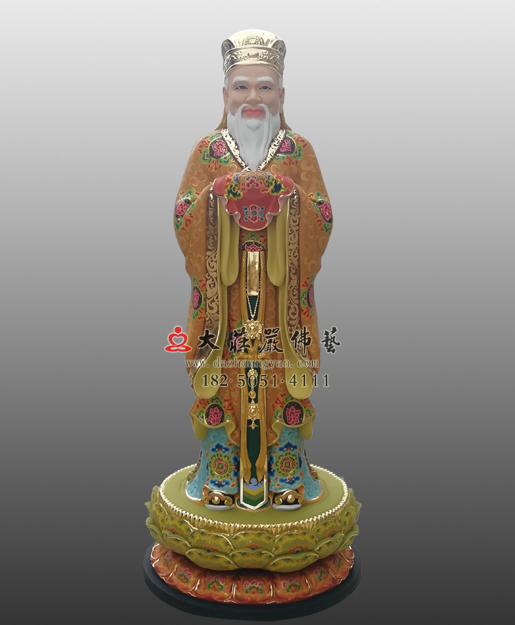 铜像闵公彩绘描金塑像