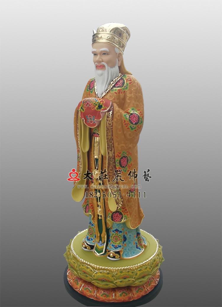 铜像彩绘描金闵公侧面塑像