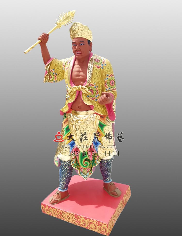 铜像彩绘描金三爷侧面塑像