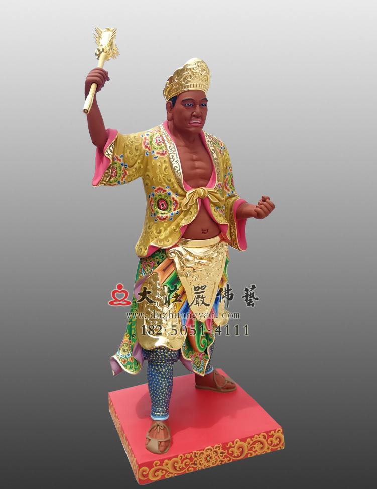 铜像三爷彩绘描金侧面塑像