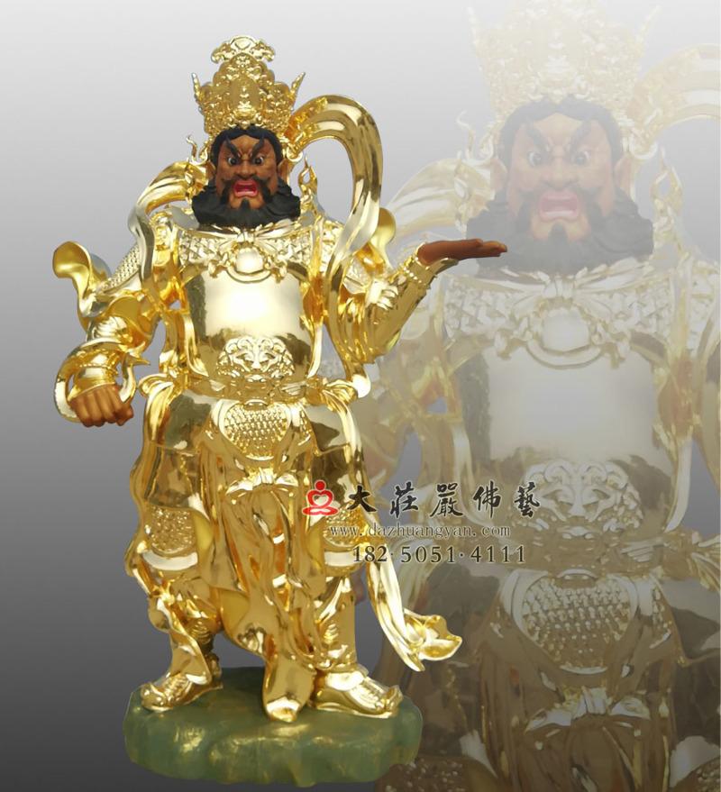 铜像四大天王之贴金广目天王