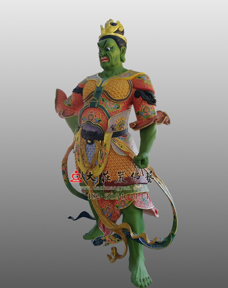 铜像彩绘四大天王八大大眷属侧面塑像