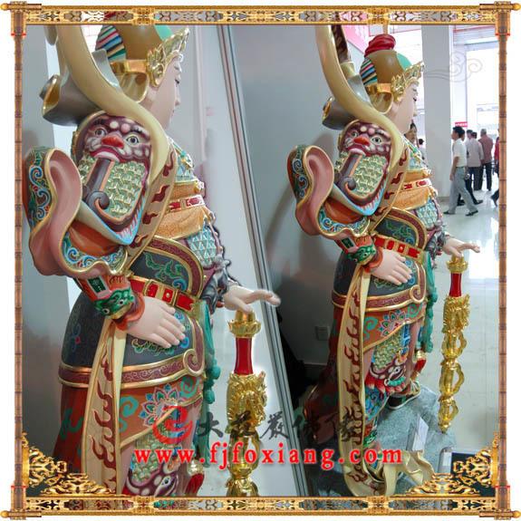 铜雕彩绘描金韦驮塑像