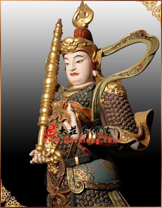 铜像韦陀菩萨侧面彩绘像