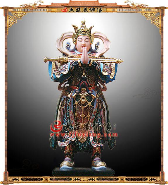 铜雕彩绘韦驮菩萨像
