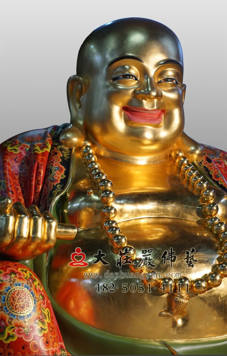 铜像弥勒佛彩绘贴金侧面佛像