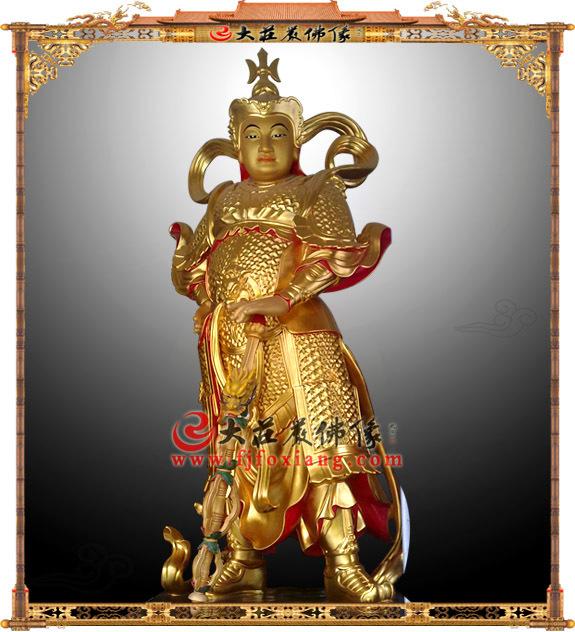 铜雕贴金韦陀护法神像