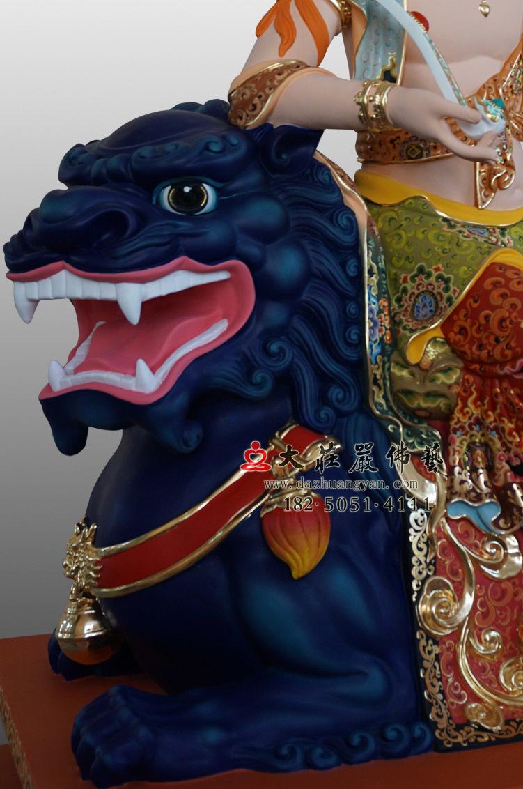 铜像青狮头彩绘塑像