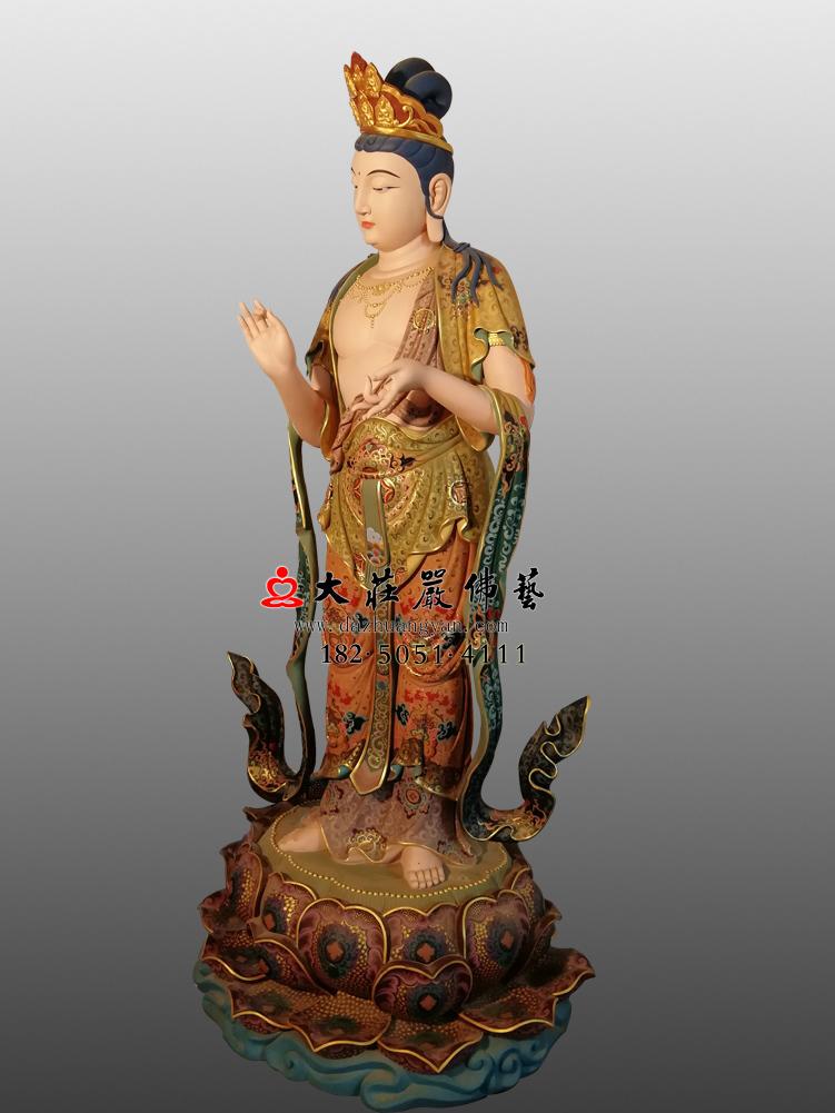 铜像八大菩萨-金刚手菩萨右侧彩绘佛像