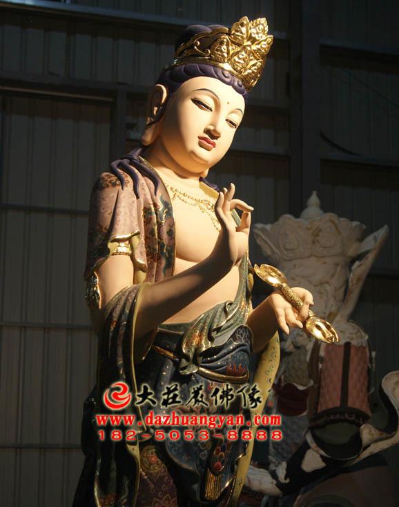 铜像八大菩萨之金刚手菩萨彩绘佛像侧面近照