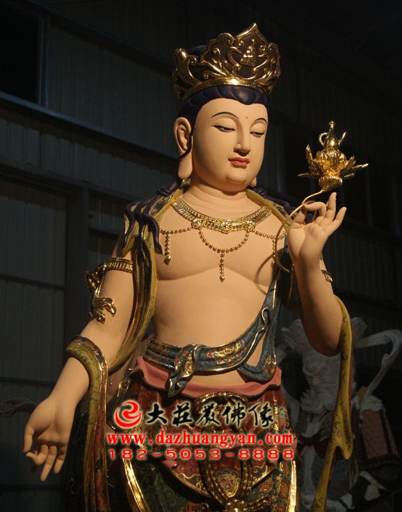 铜像八大菩萨之弥勒菩萨彩绘佛像侧面近照