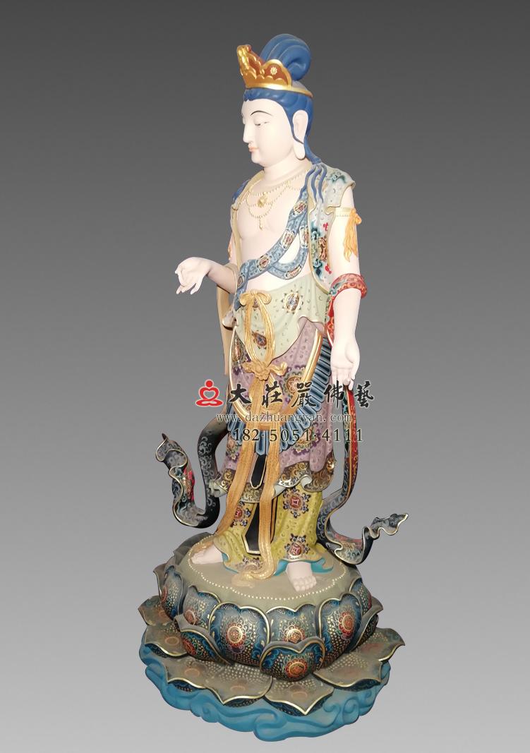 铜像八大菩萨-除盖障菩萨右侧 彩绘佛像