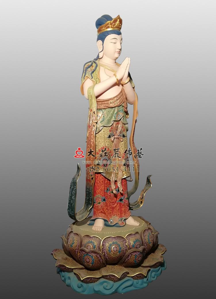 铜像八大菩萨-观世音菩萨左侧彩绘佛像