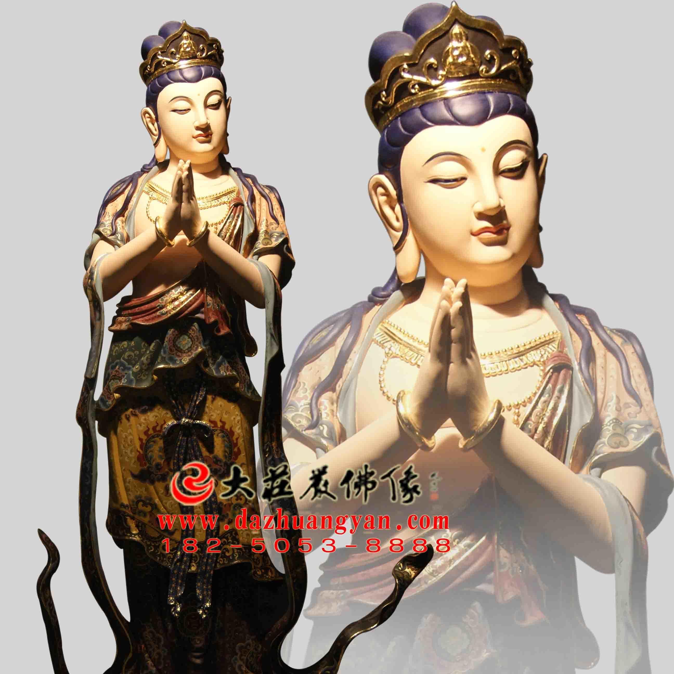 铜雕八大菩萨之观音菩萨彩绘佛像正面像
