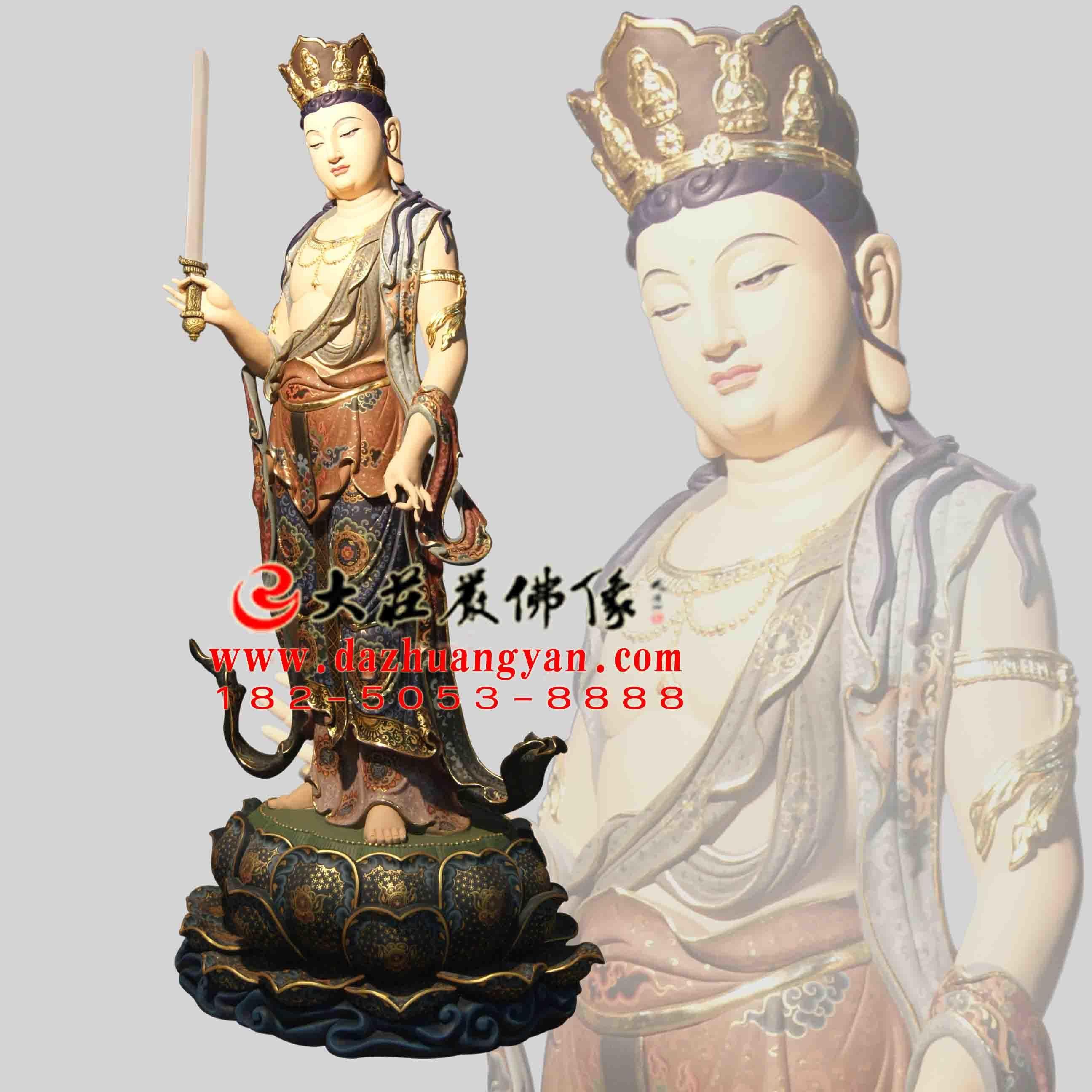 铜像八大菩萨之普贤菩萨彩绘佛像侧面像