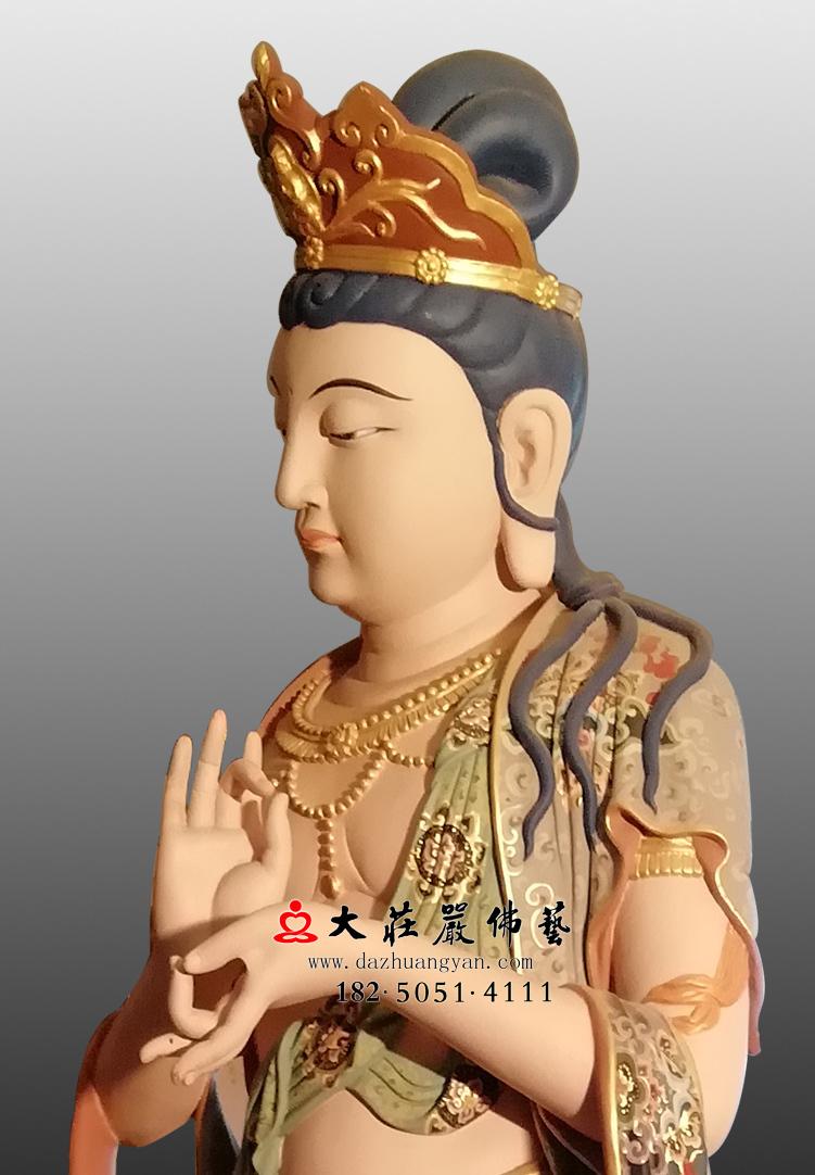 铜像八大菩萨-地藏菩萨近照彩绘佛像