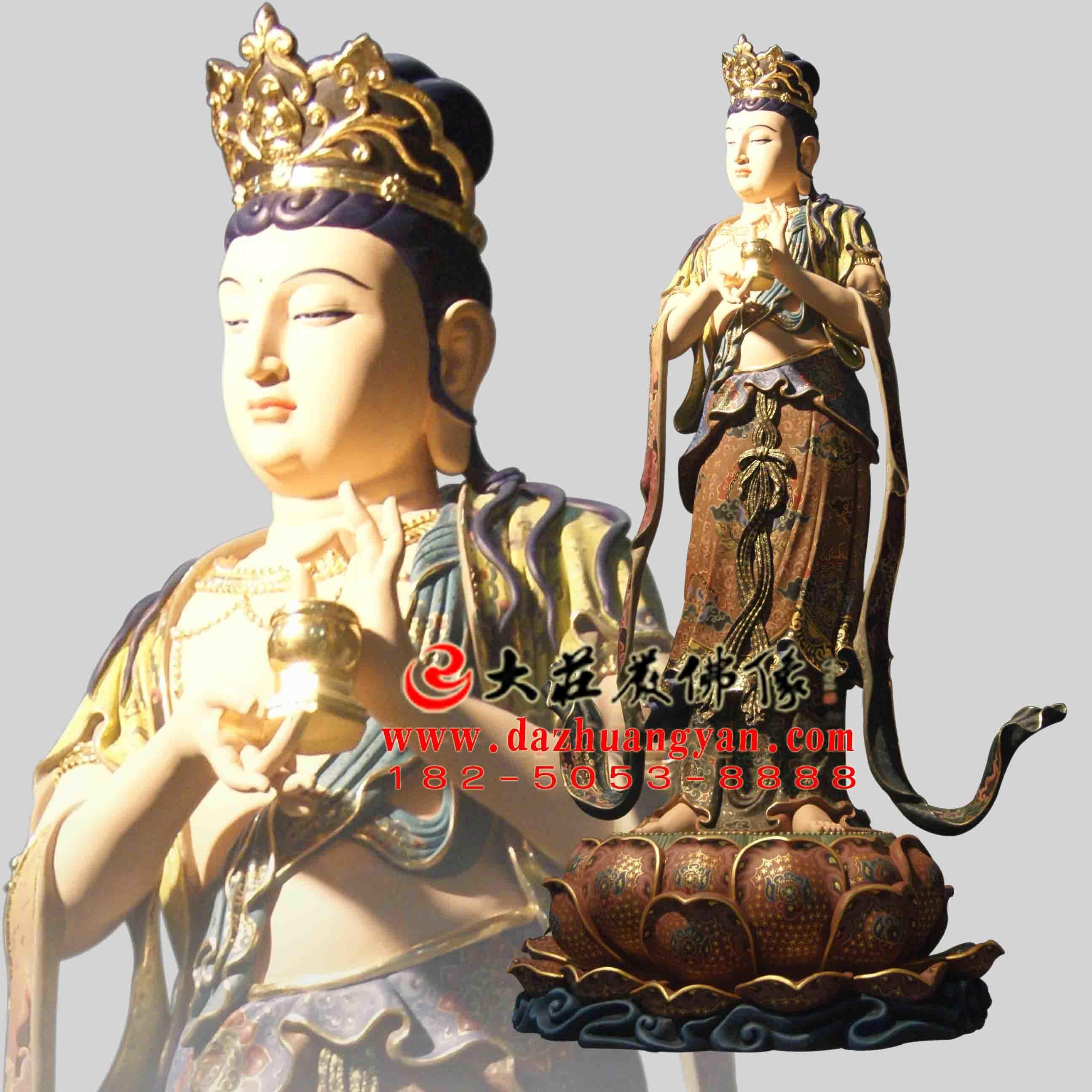铜像八大菩萨之地藏菩萨彩绘佛像侧面像