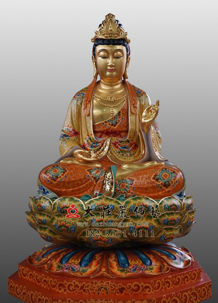 铜雕大势至菩萨彩绘贴金佛像