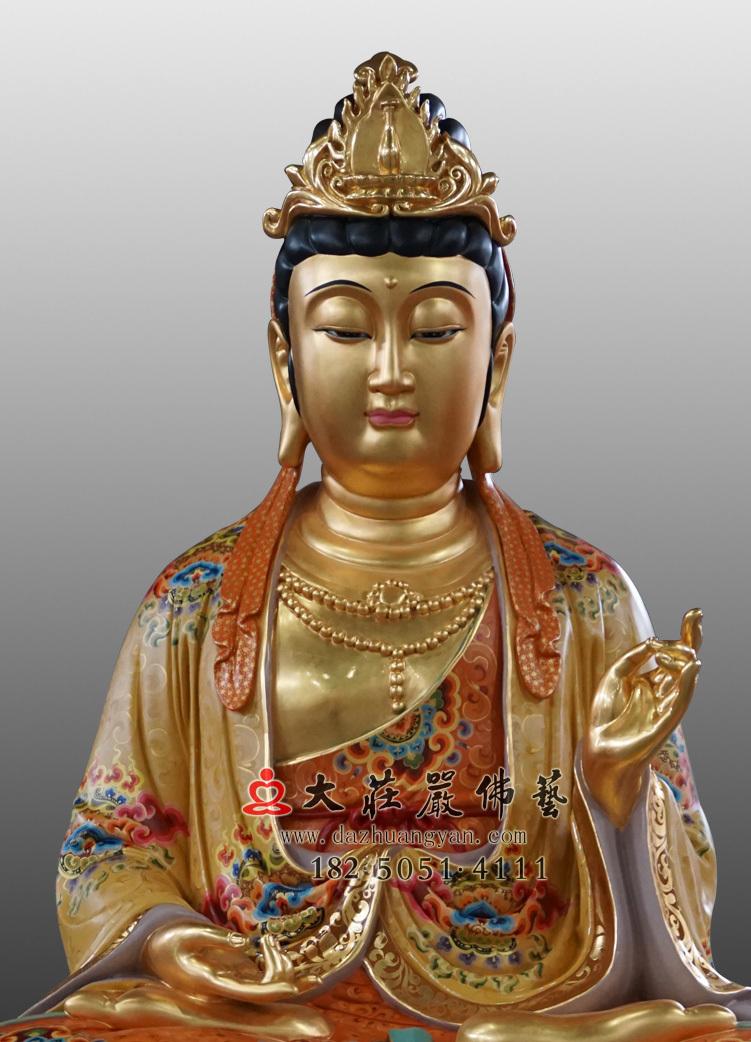铜像大势至菩萨正面近照彩绘贴金佛像