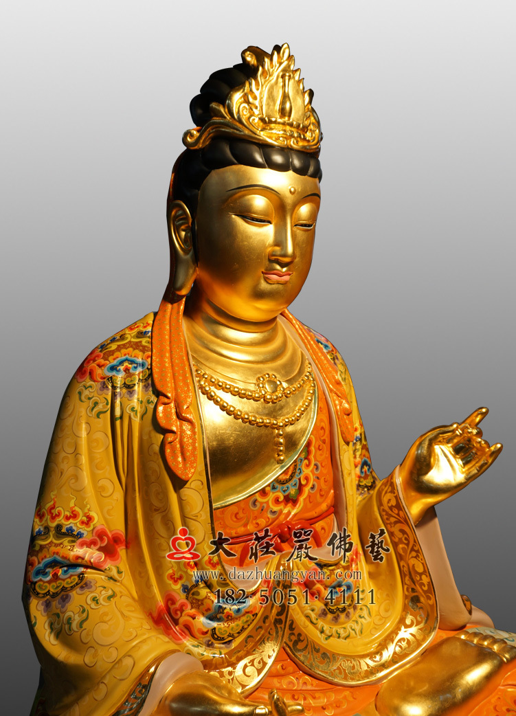 铜像大势至菩萨侧面近照彩绘佛像