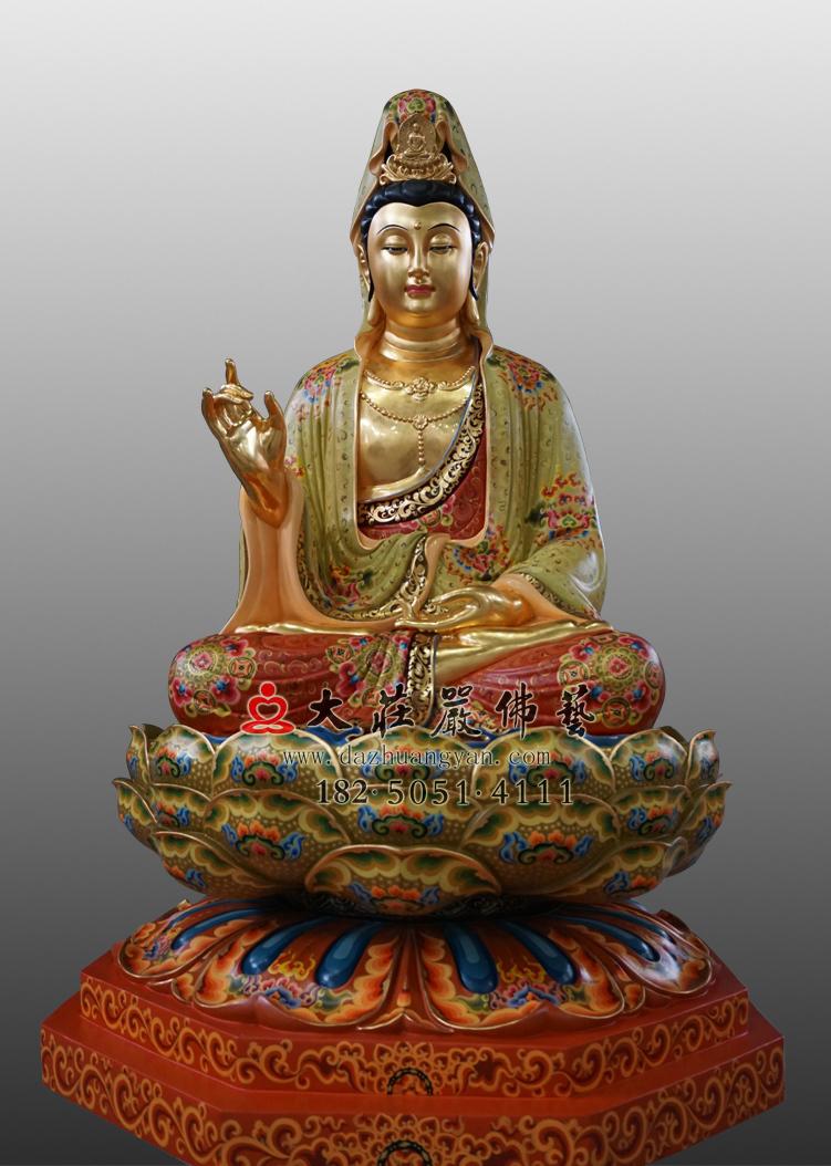 铜像观世音彩绘贴金佛像
