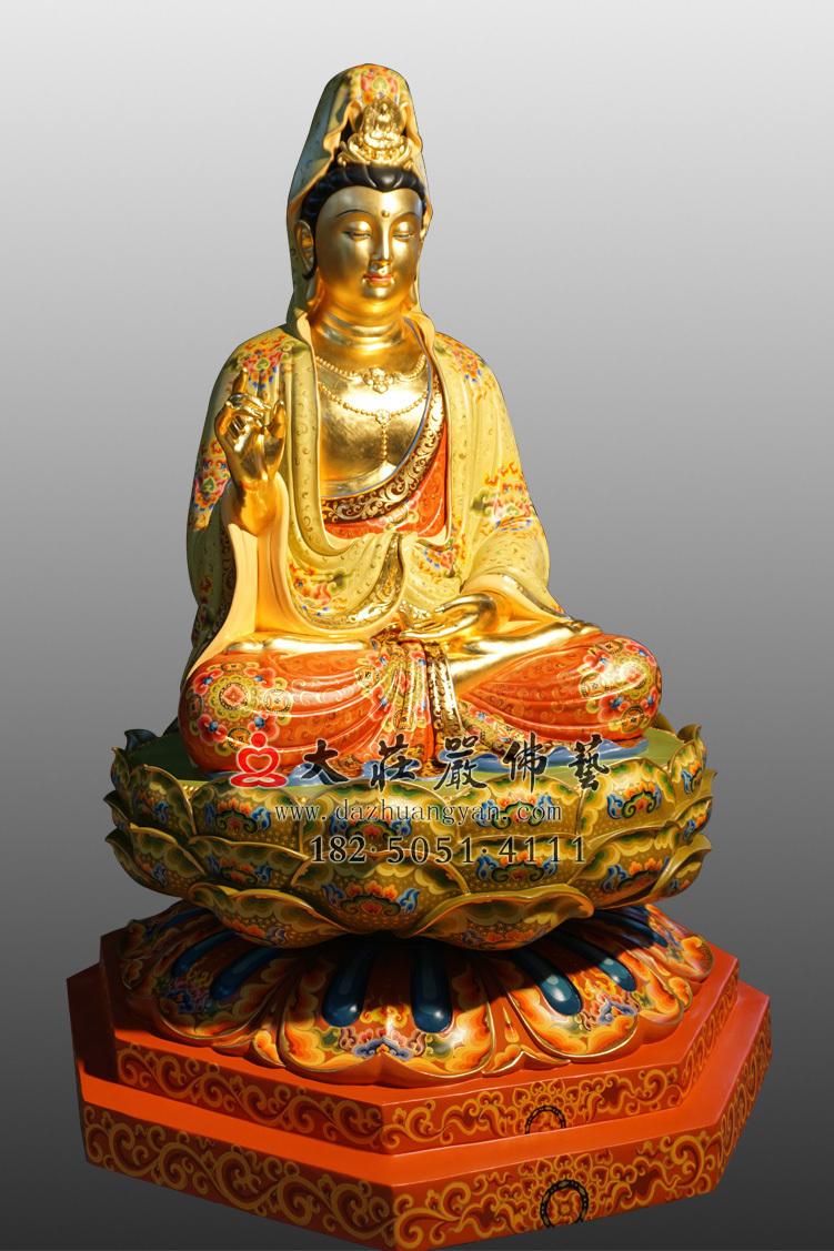 铜像观世音彩绘侧面彩绘佛像