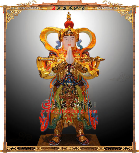 铜雕彩绘韦驮菩萨