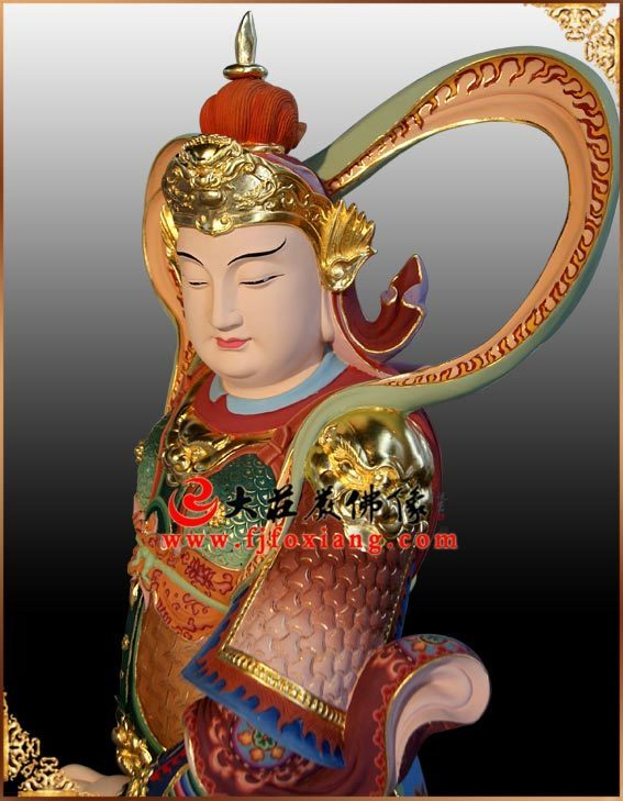 铜像韦驮菩萨侧面彩绘佛像