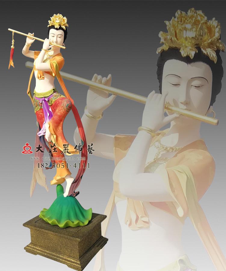 铜雕笛子伎乐天彩绘神像