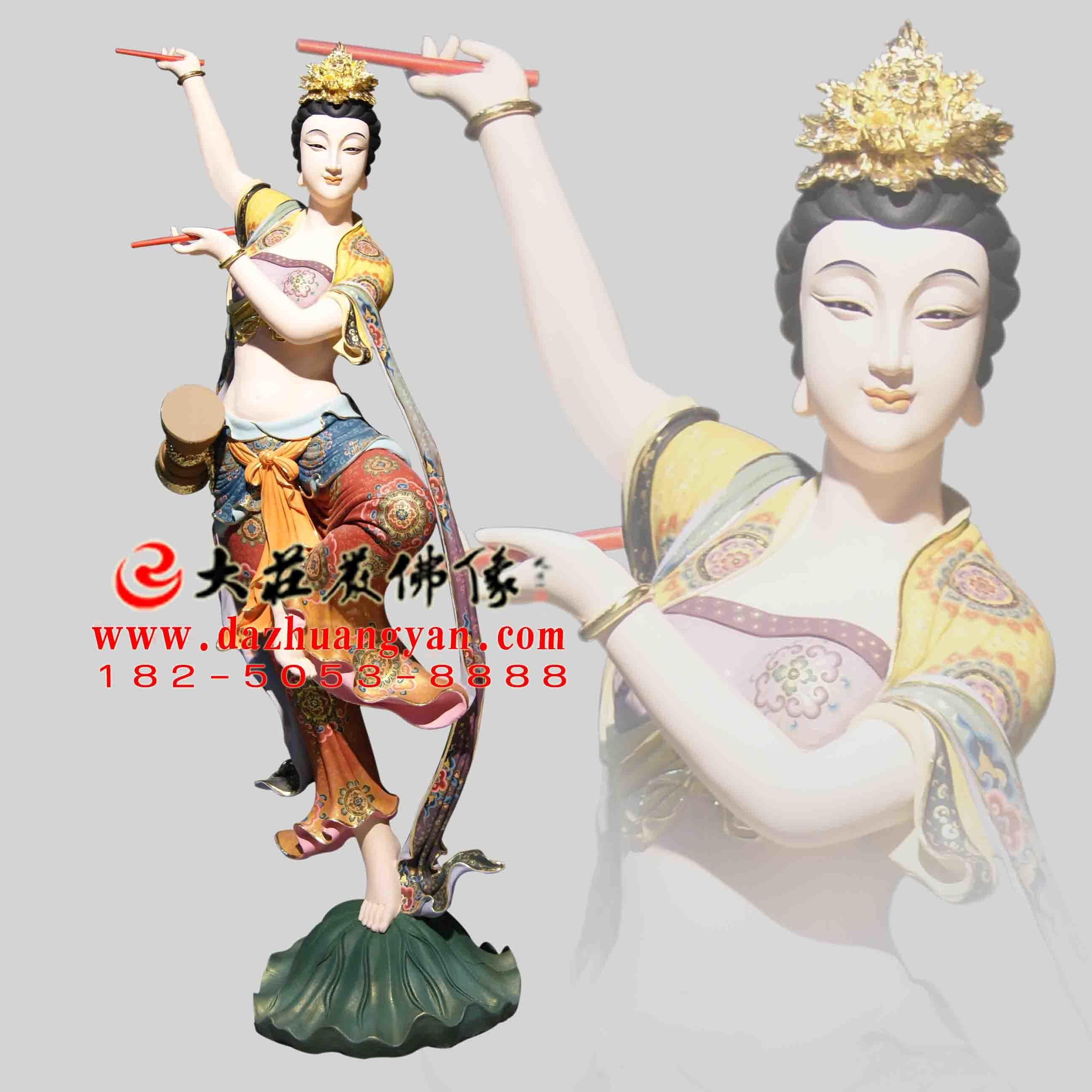 铜像鼓手伎乐天彩绘神像