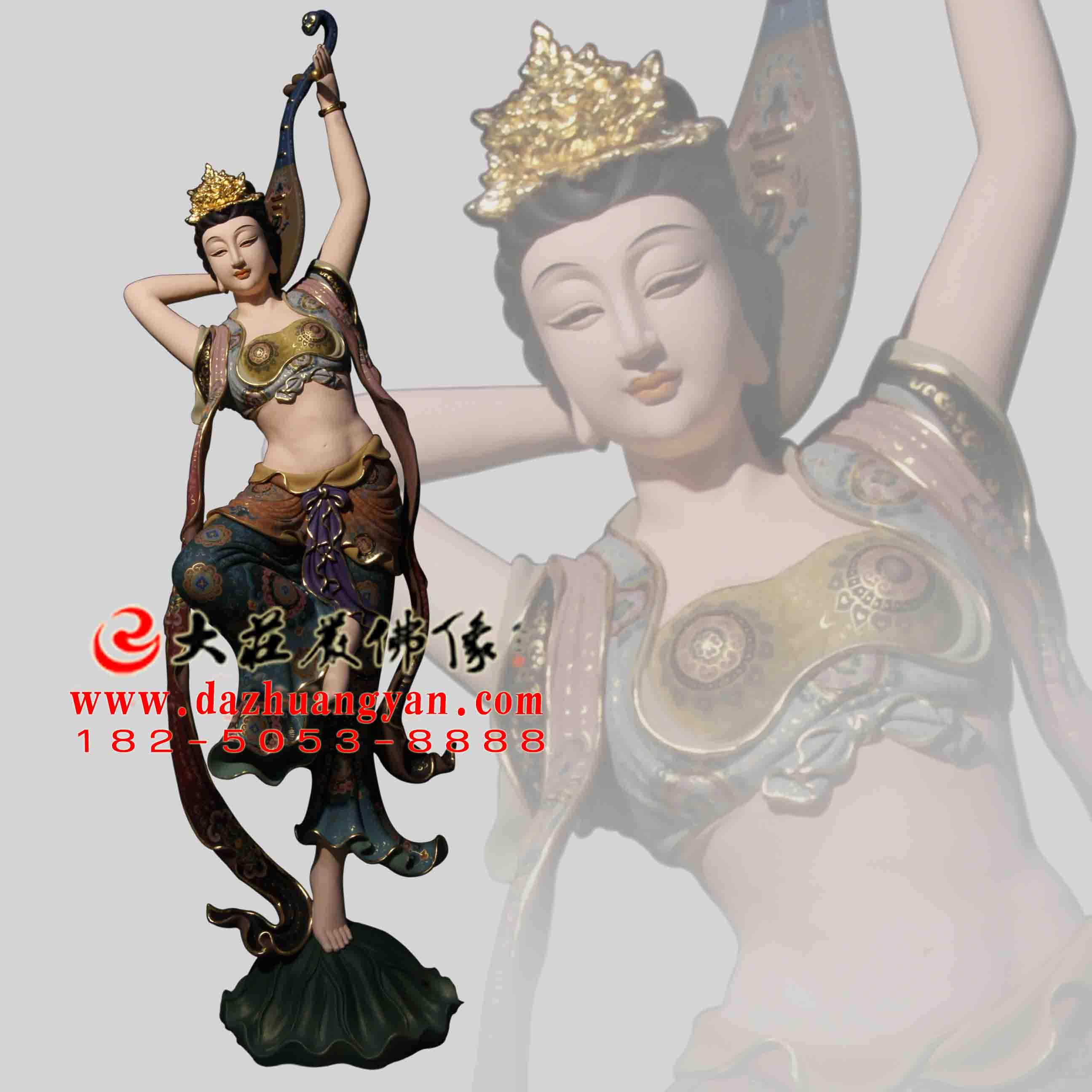 铜雕反弹琵琶伎乐天彩绘神像