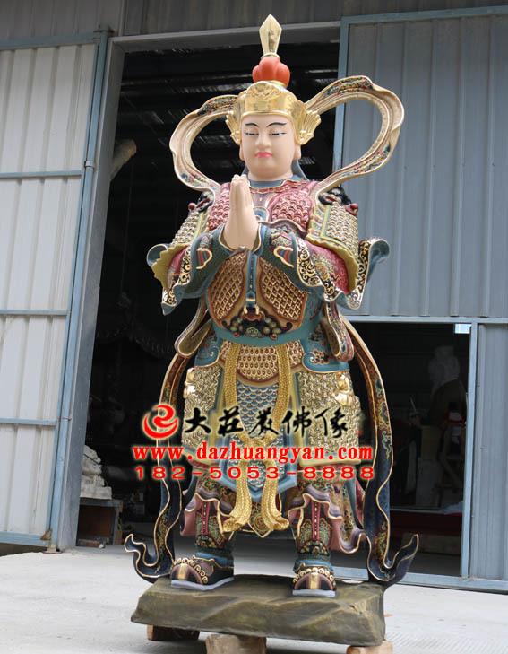 铜像朝天韦驮彩绘塑像侧面照