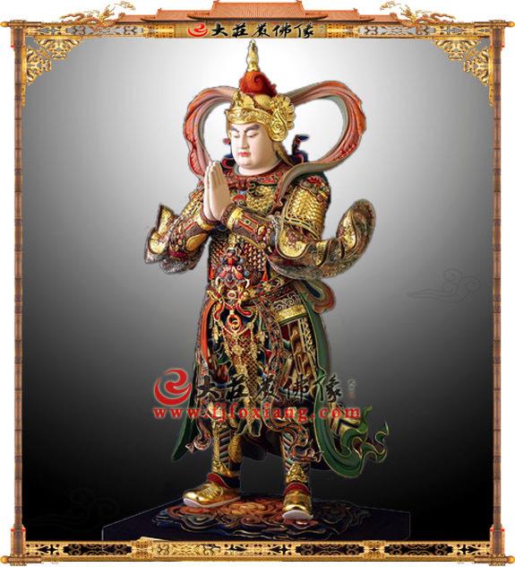 铜雕彩绘合掌朝天韦驮菩萨