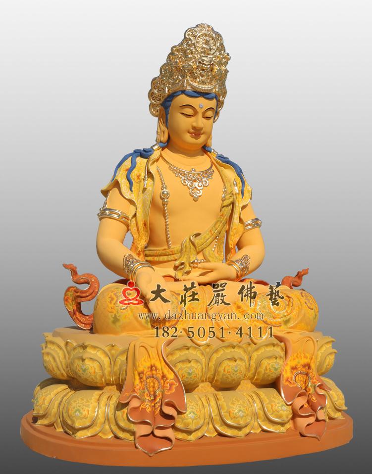 铜像五方佛之南方宝生佛左侧彩绘贴金