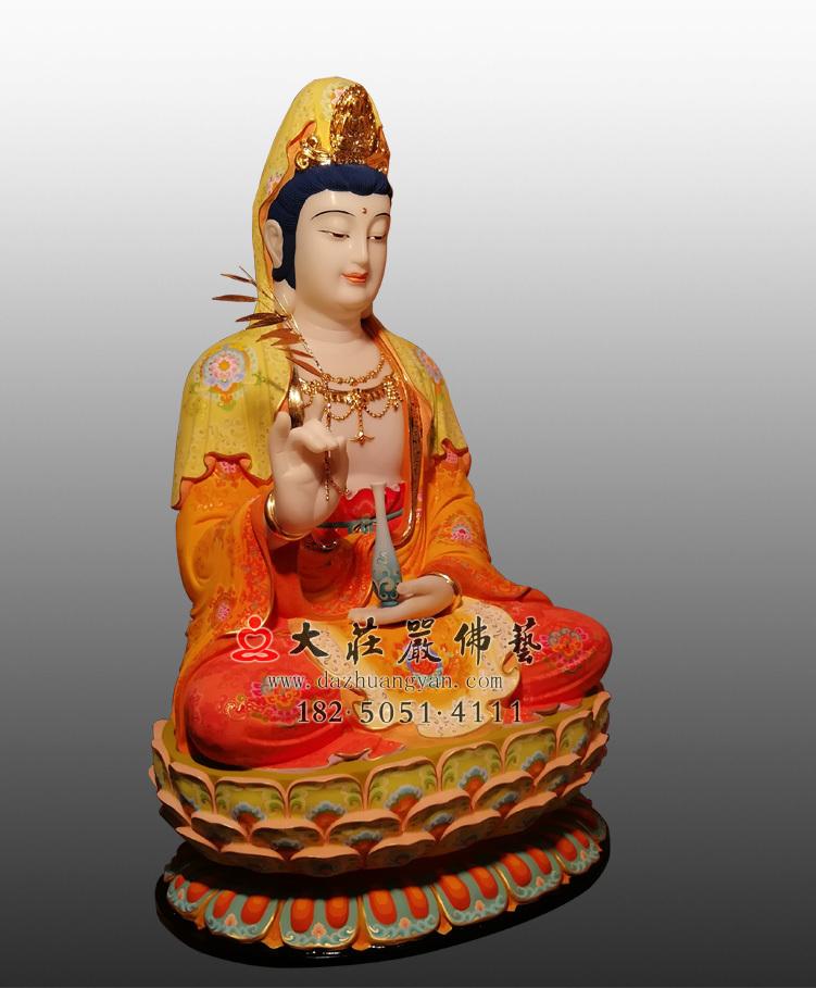 铜像彩绘描金观世音菩萨侧面塑像