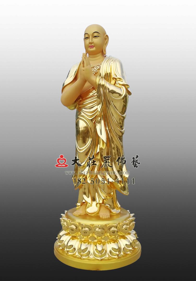 铜雕贴金阿难侧面佛像