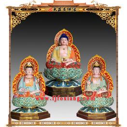 铜雕西方三圣彩绘像