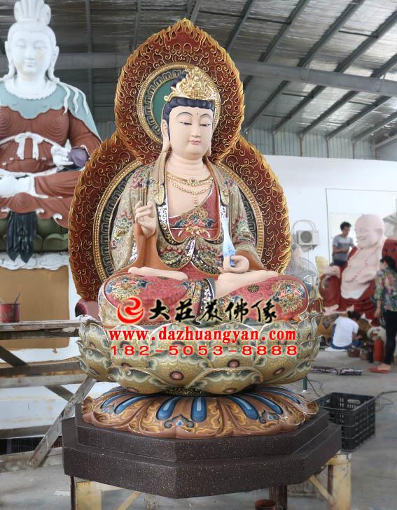 生漆脱胎西方三圣之观音菩萨坐莲塑像侧面照